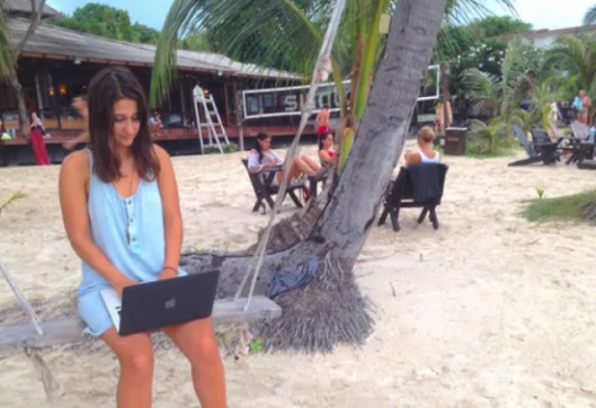 Working remotely from a tropical beach is tougher than it looks
