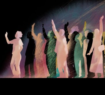 graphic of group of people raising their hands
