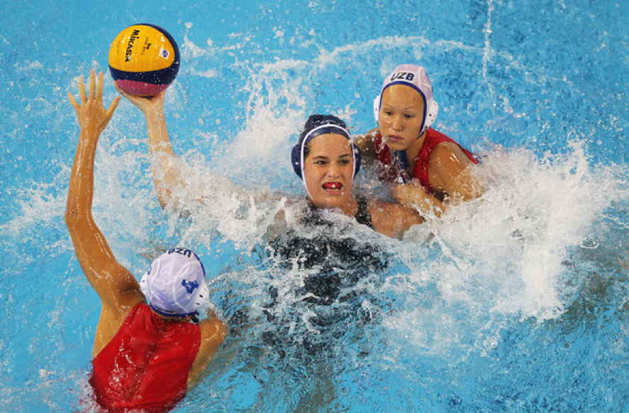 The author playing water polo.