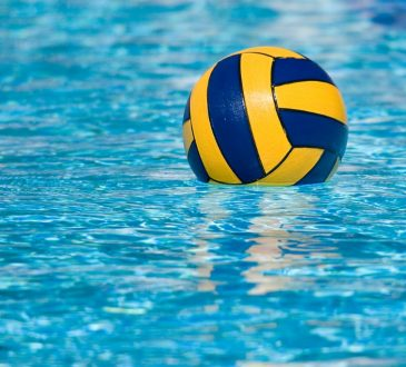 water polo ball in water