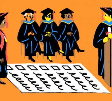 illustration of graduation ceremony