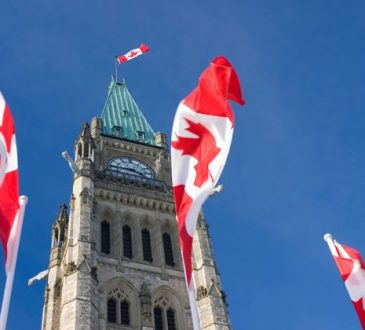 canadian flags around peace tower on parliament hill