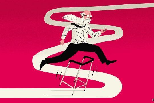 cartoon of man hurdling over walker