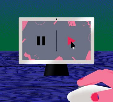 illustration of person clicking play button on computer