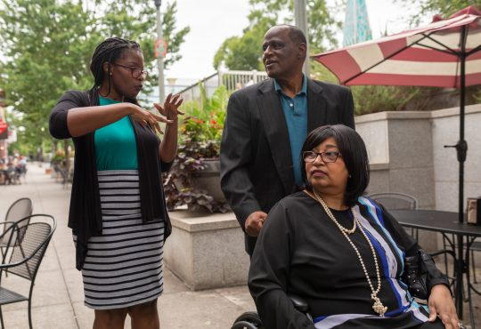 Aisha Adkins in the Atlanta area with her mother, Rose, whose dementia was diagnosed six years ago, and her father.