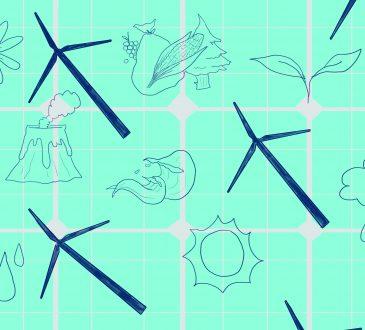Illustration of windmills floating on teal background