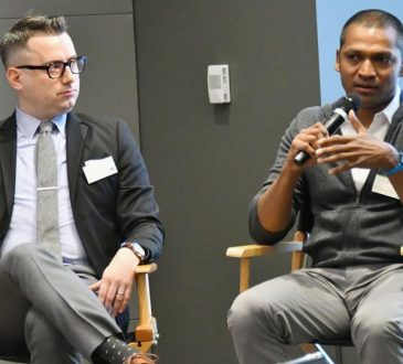 Director of Social Impact at General Assembly, Tom Ogletree (L) and co-founder at ULTRA Testing, Rajesh Anandan speak during Interbrand Breakthrough Brands 2017 on May 24, 2017 in New York City.