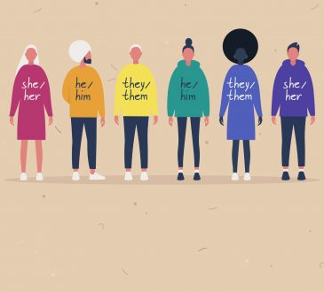 illustration of people wearing sweaters with their gender pronouns