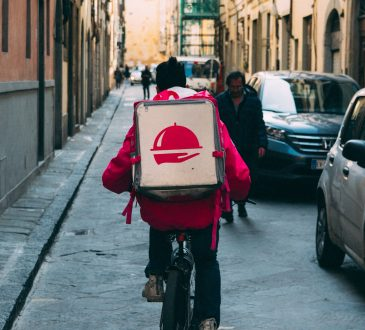 foodora delivery worker on bike