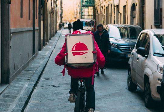 foodora delivery worker on bike