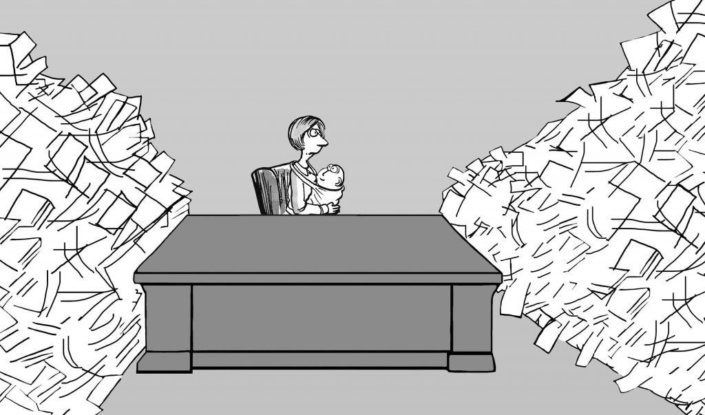 Business illustration about a mother returning to work with stacks of paper awaiting her.