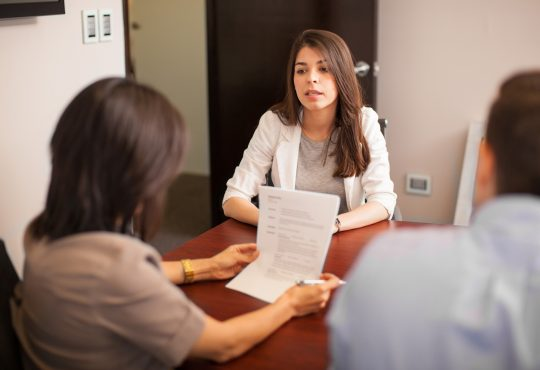 woman looking stressed during job interview