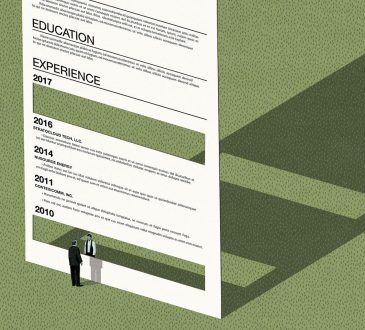 illustration of man standing in front of resume with sections cut out of it