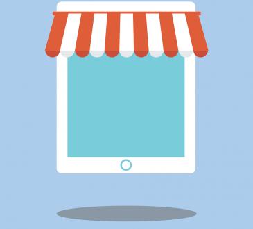 illustration depicting tablet screen as storefront