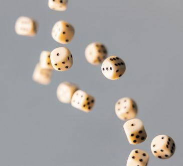 dice falling through the air