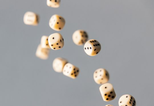 dice falling through the air