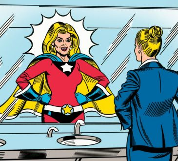 cartoon of woman in business suit looking in mirror and seeing herself as a superhero