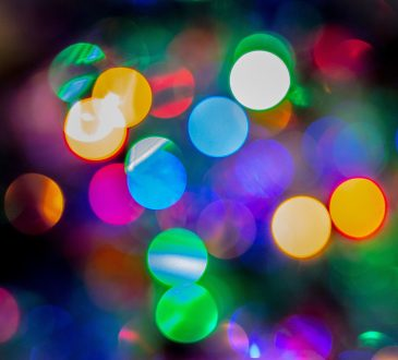 multicoloured dots - close up of christmas lights
