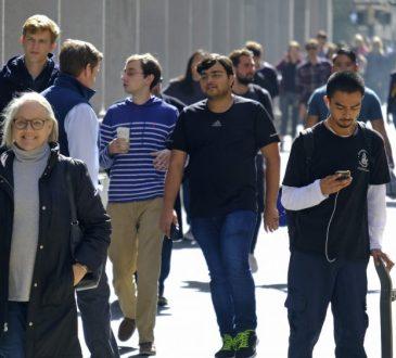 people walking around downtown toronto