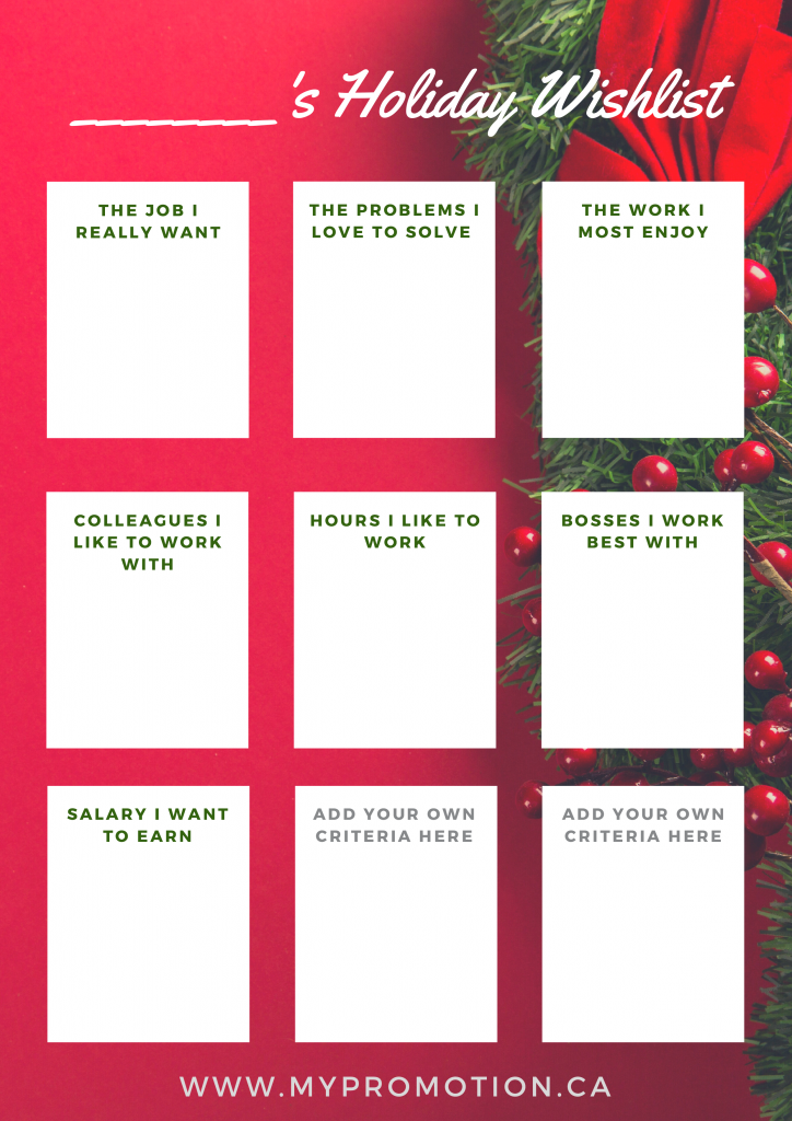 Worksheet - holiday wishlist. The job I really want, The problems I love to solve, The work I most enjoy, Colleagues I like to work with, Hours I like to work, Bosses I like to work with, Salary I want to earn