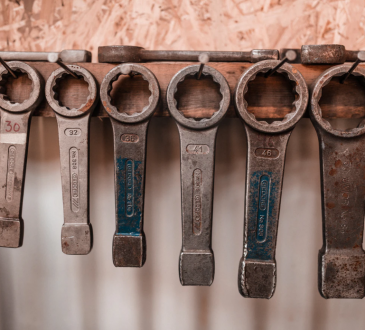 wrenches hanging on nails