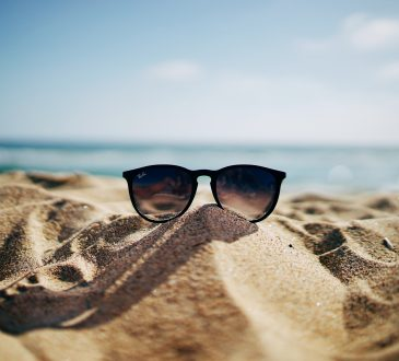 sunglasses on sand at beach