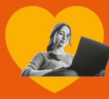 photo illustration of woman working on computer inside orange heart