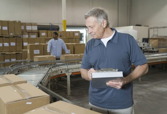 Workers working in distribution warehouse