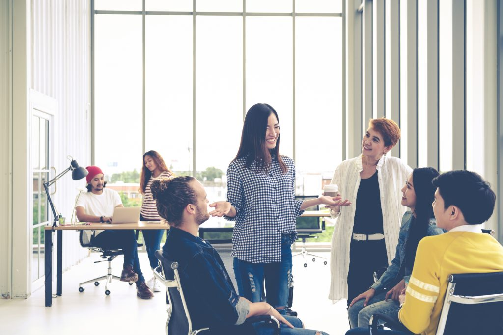 people dressed casually in office