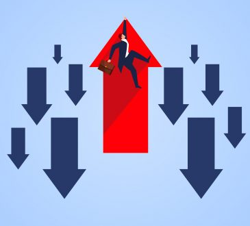 rising red arrow with man hanging on amid arrows pointing down