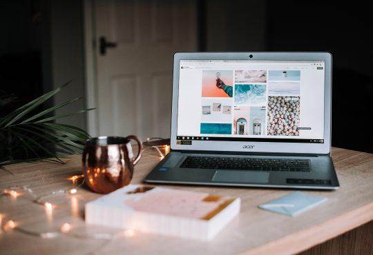laptop with portfolio website