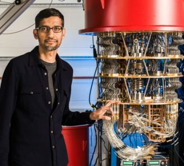 Alphabet chief exec Sundar Pichai with one of Google's quantum computers.