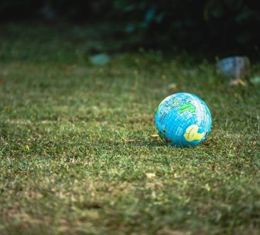 globe sitting on grass