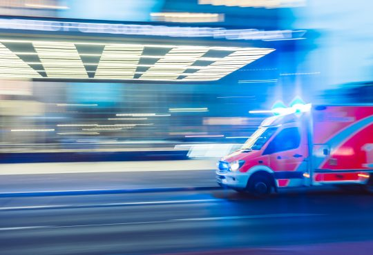 ambulance approaching a hospital