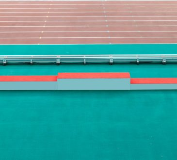 Close-up track and field podium
