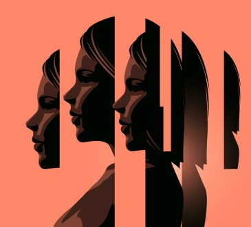 Photo illustration. A women dealing with mental heath issues showing the different faces of dealing with personal issues.
