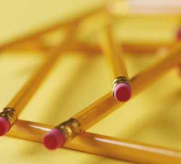 Close up of pencils with erasers