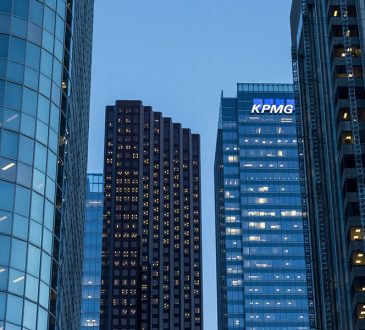 skyscrapers in city setting with KPMG building