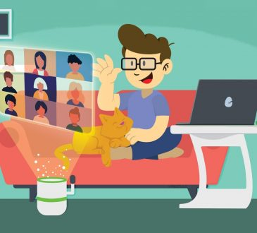 cartoon of man on video conference call from home
