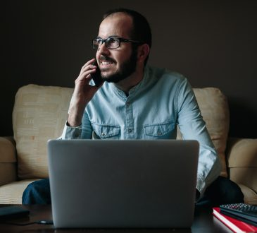 Man calling and working from home