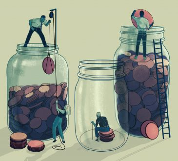 illustration of people putting coins into jars
