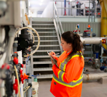 woman working in water plant
