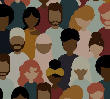 Multicultural crowd, group of people, flat vector illustration style.