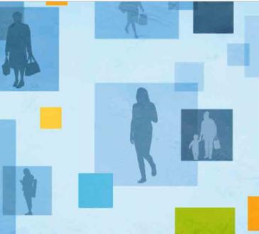 illustration featuring people walking among blue blocks