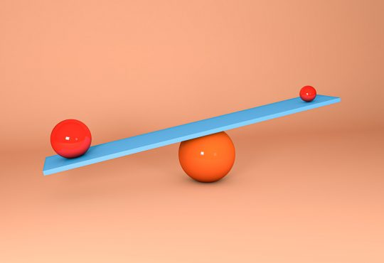 3d illustration. Spheres balancing on a seesaw.