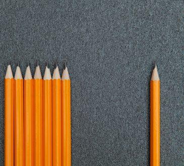 pencils on grey background