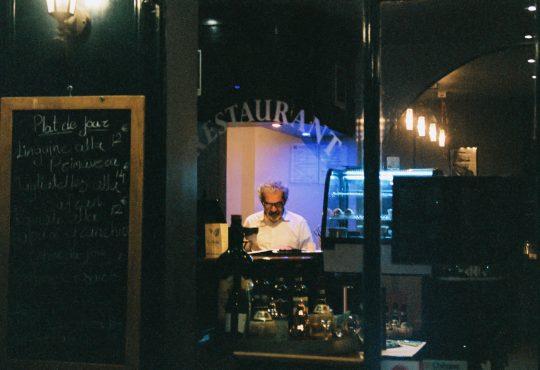man sitting alone in restaurant