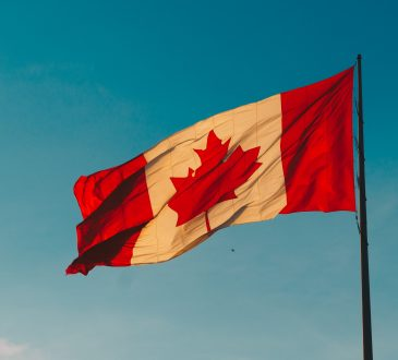 canadian flag waving in wind