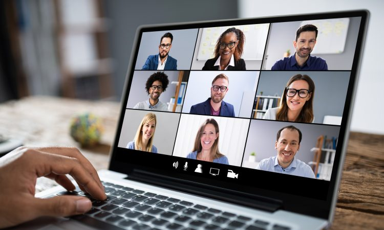 laptop screen with grid video call