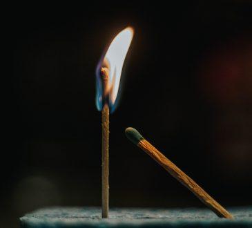 lit match
